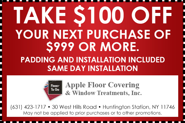 Take $100 OFF Your Next Purchase of $999 Or More. Padding and Installation Included. Same Day Installation - May not be applied to prior purchases or to other promotions.