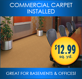 Commercial carpet installed. Great for basements and offices.