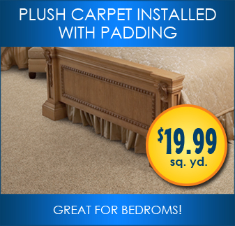 Plush carpet installed with padding. Great for bedrooms.